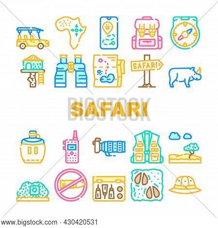 Safari African Hunting Vacation Icons Set Vector. Rhinoceros Animal Hunt In Safari And Hunter Equipm