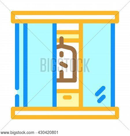 Wardrobe Cabinets Furniture Color Icon Vector. Wardrobe Cabinets Furniture Sign. Isolated Symbol Ill