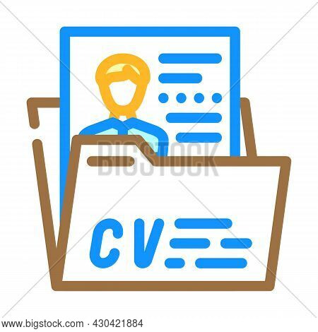 Personal Profile Cv Color Icon Vector. Personal Profile Cv Sign. Isolated Symbol Illustration