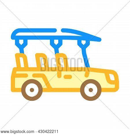 Safari Car Color Icon Vector. Safari Car Sign. Isolated Symbol Illustration