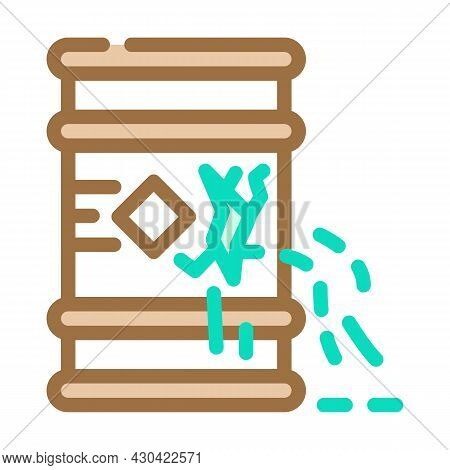 Waste Leakage From Barrel Color Icon Vector. Waste Leakage From Barrel Sign. Isolated Symbol Illustr