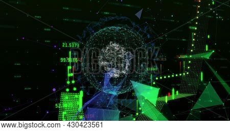Digital image of Financial data processing over spinning globe plexus networks against black background. Global finance and Global networking concept