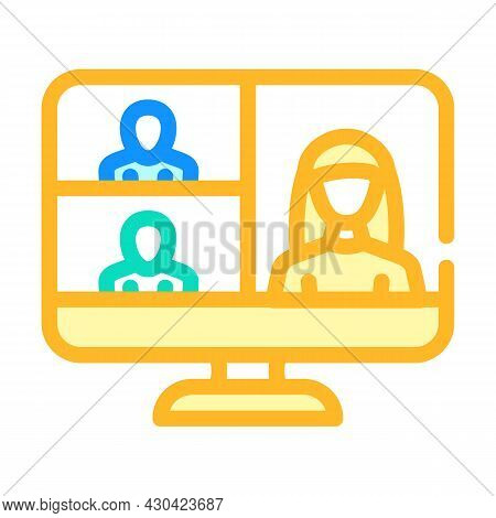 Video Conference Computer Software Color Icon Vector. Video Conference Computer Software Sign. Isola