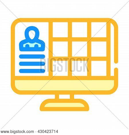 Conference With Large Number Of Participants Color Icon Vector. Conference With Large Number Of Part