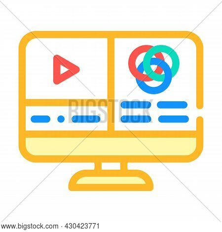 Video Color Correction Color Icon Vector. Video Color Correction Sign. Isolated Symbol Illustration