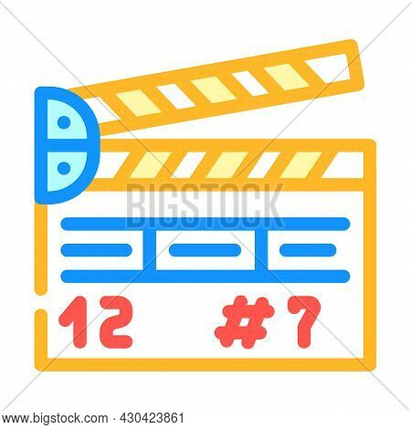 Clapperboard Tool Color Icon Vector. Clapperboard Tool Sign. Isolated Symbol Illustration