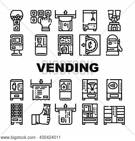 Vending Machine Sale Equipment Icons Set Vector. Coffee And Drink Vending Machine, Pop Corn And Cand