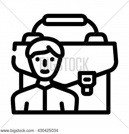 Portfolio Employee Line Icon Vector. Portfolio Employee Sign. Isolated Contour Symbol Black Illustra