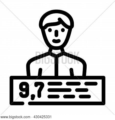 Personal Rating Line Icon Vector. Personal Rating Sign. Isolated Contour Symbol Black Illustration