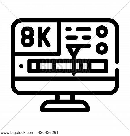 Processing Video Quality Line Icon Vector. Processing Video Quality Sign. Isolated Contour Symbol Bl
