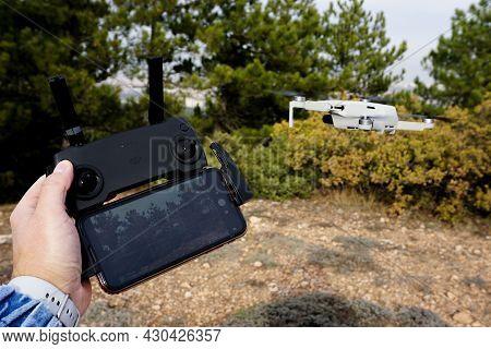 29 December 2020 Eskisehir Turkey. Dji Mavic Mini Air Drone Controlle In Hand Close Up View