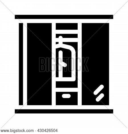 Wardrobe Cabinets Furniture Glyph Icon Vector. Wardrobe Cabinets Furniture Sign. Isolated Contour Sy