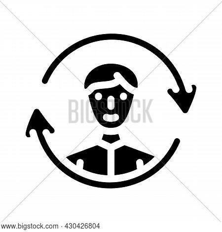 Updating Employee Glyph Icon Vector. Updating Employee Sign. Isolated Contour Symbol Black Illustrat