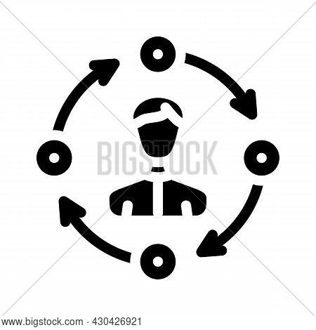 Interaction Businessman Glyph Icon Vector. Interaction Businessman Sign. Isolated Contour Symbol Bla