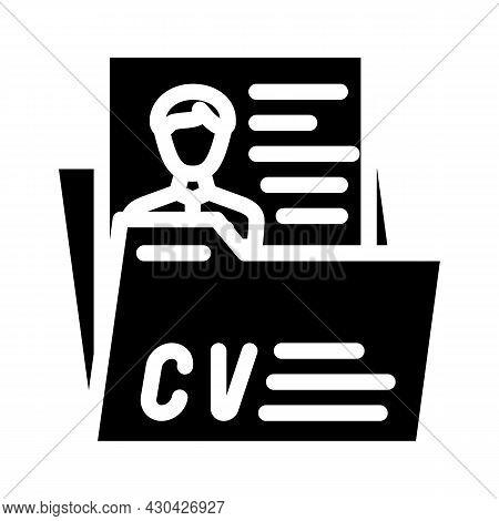 Personal Profile Cv Glyph Icon Vector. Personal Profile Cv Sign. Isolated Contour Symbol Black Illus