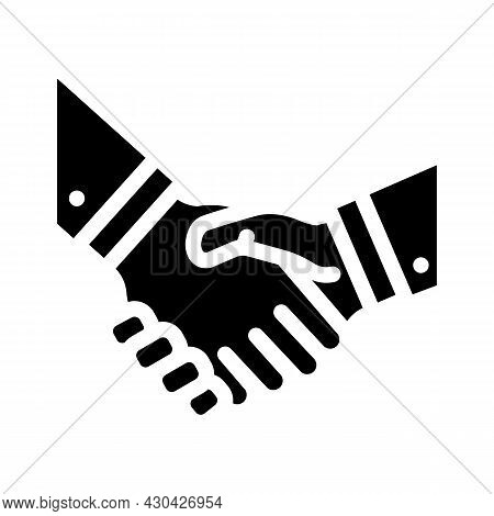 Handshake Partners Glyph Icon Vector. Handshake Partners Sign. Isolated Contour Symbol Black Illustr