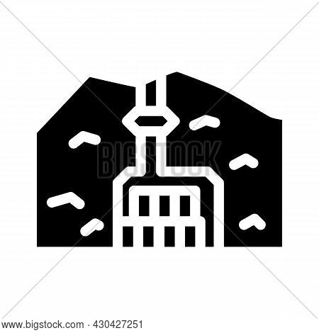 Special Burial In Mountain Glyph Icon Vector. Special Burial In Mountain Sign. Isolated Contour Symb