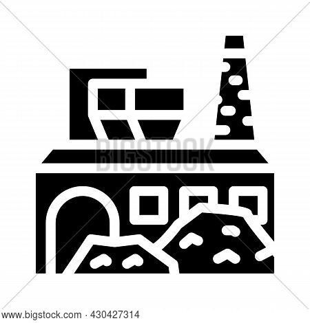 Industrial Processing Solid Waste Glyph Icon Vector. Industrial Processing Solid Waste Sign. Isolate