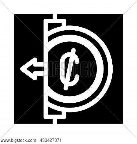 Coins Acceptance Glyph Icon Vector. Coins Acceptance Sign. Isolated Contour Symbol Black Illustratio