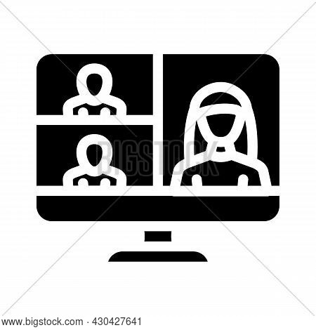 Video Conference Computer Software Glyph Icon Vector. Video Conference Computer Software Sign. Isola