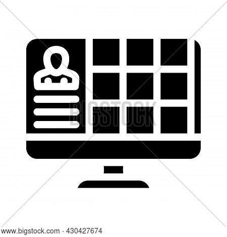 Conference With Large Number Of Participants Glyph Icon Vector. Conference With Large Number Of Part
