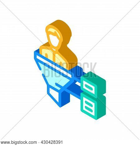Funnel Candidate Isometric Icon Vector. Funnel Candidate Sign. Isolated Symbol Illustration