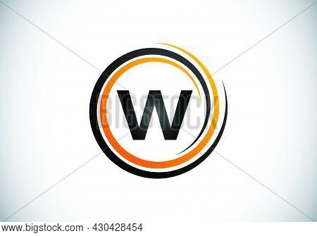 Initial W Monogram Alphabet In The Spiral. Swirl Spiral Infinity Logo Design. Font Emblem.  Modern V