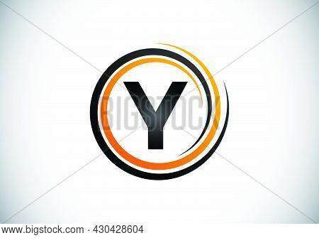Initial Y Monogram Alphabet In The Spiral. Swirl Spiral Infinity Logo Design. Font Emblem.  Modern V