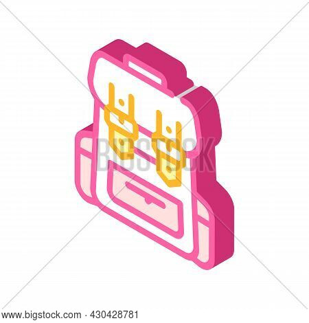 Backpack Accessory Isometric Icon Vector. Backpack Accessory Sign. Isolated Symbol Illustration