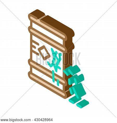 Waste Leakage From Barrel Isometric Icon Vector. Waste Leakage From Barrel Sign. Isolated Symbol Ill