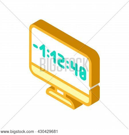 Countdown Video Conference Isometric Icon Vector. Countdown Video Conference Sign. Isolated Symbol I
