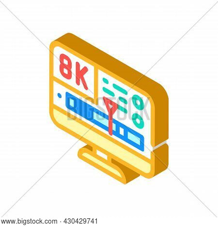 Processing Video Quality Isometric Icon Vector. Processing Video Quality Sign. Isolated Symbol Illus
