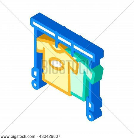 Wardrobe With Clothes For Actor Isometric Icon Vector. Wardrobe With Clothes For Actor Sign. Isolate