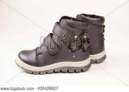 Autumn-gray,decorated With Flowers,boots For Girls Of Small Size With Velcro Fasteners,insulated On