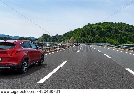 Rijeka, Croatia - July 25, 2021: Kia Sportage On The Highway, In Rijeka, Croatia.