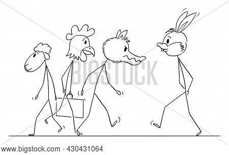 People In Animal Masks Walking On The Street , Vector Cartoon Stick Figure Illustration