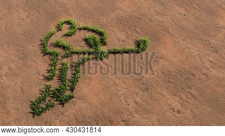 Concept conceptual green summer lawn grass symbol shape on brown soil or earth background, a hockey player image. A 3d illustration metaphor for sport, competition, training, speed, power and strength