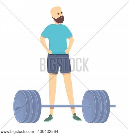 Resting Barbell Athlete Icon Cartoon Vector. Workout Man. Gym Exercise