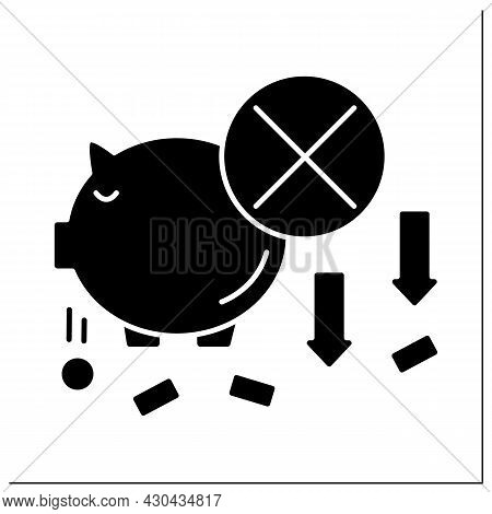 Money Glyph Icon. Piggybank. Loses Cash And Coins From Moneybox. Economy Poverty Concept. Filled Fla