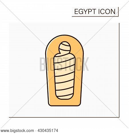 Mummy Color Icon. Human Body Is Ceremonially Preserved. Embalming And Wrapping In Bandages.prepared