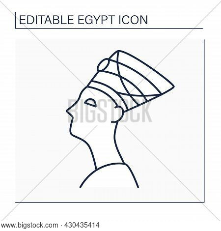 Egyptian Line Icon. Citizen In Egypt Country. Man In Traditional Cap. Relating To Local Language, Or