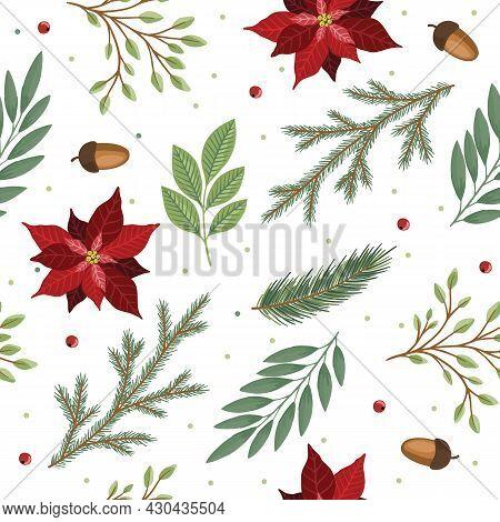 Christmas Seamless Pattern. Pine Twigs, Red Berries, Christmas Tree. Winter Xmas Holidays.