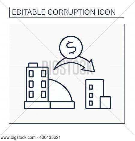 Profit Shifting Line Icon.tax Planning Strategies. Making Payments To Other Companies To Move Profit