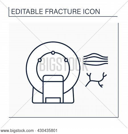 Mri Line Icon. Magnetic Resonance Imaging.safe, Painless Test.examination Tendon Or Ligament. Modern