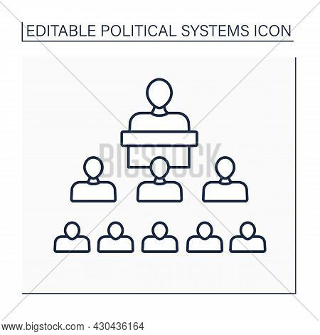 Structure Political Line Icon. Interaction Inside Political Systems And Regulations, Laws And Norms.