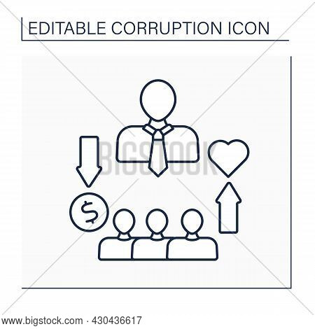 Patronage Line Icon. Giving Support And Money To Special Candidates. Sponsorship. Patrons Control Pe