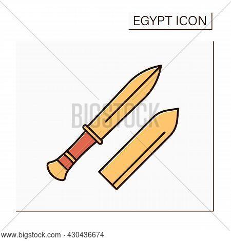 Gold Dagger Color Icon. Knife Entombed Alongside Mummy Of Egyptian Pharaoh. Tutankhamun Dagger. Egyp