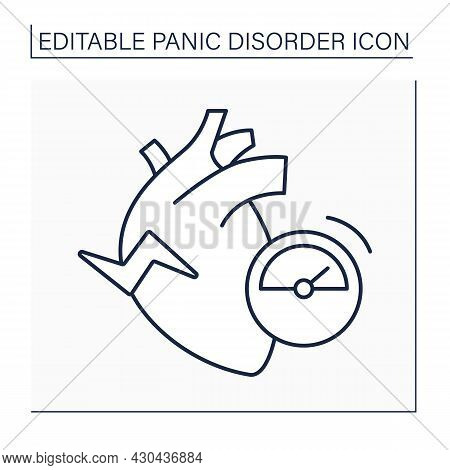 Heart Palpitation Line Icon.fast-beating, Fluttering Or Pounding Heart. Anxious Sign.panic Disorder