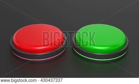 Red And Green Buttons. Stop And Start, Voting Or Right And Wrong Concept. 3d Rendered Image.