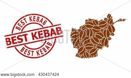 Grunge Best Kebab Stamp Seal, And Coffee Bean Collage Of Afghanistan Map. Red Round Badge Contains B